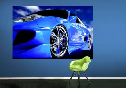 Speedster sports blue car wall murals - S